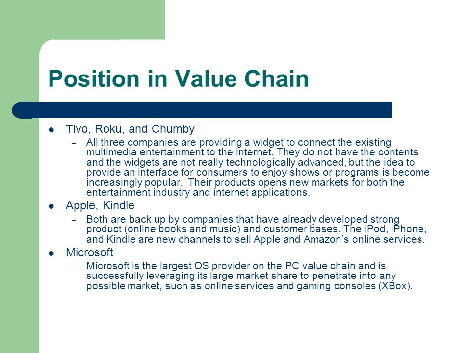 Position in Value Chain