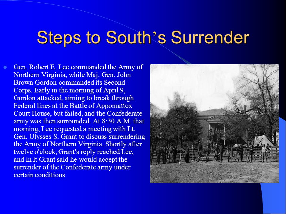 Steps to South's Surrender