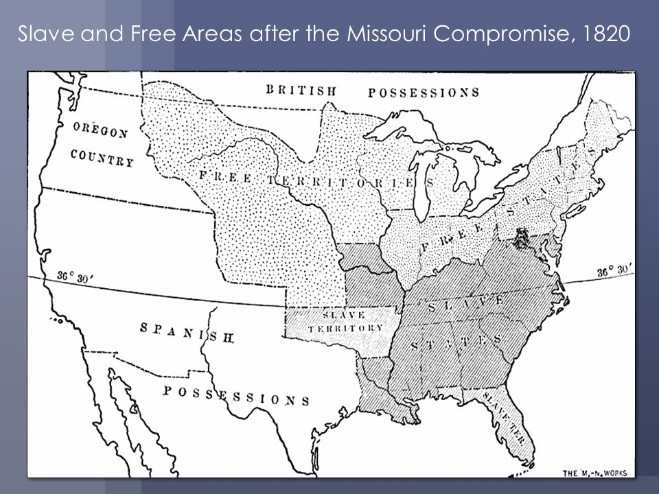 Slave and Free Areas after the Missouri Compromise, 1820