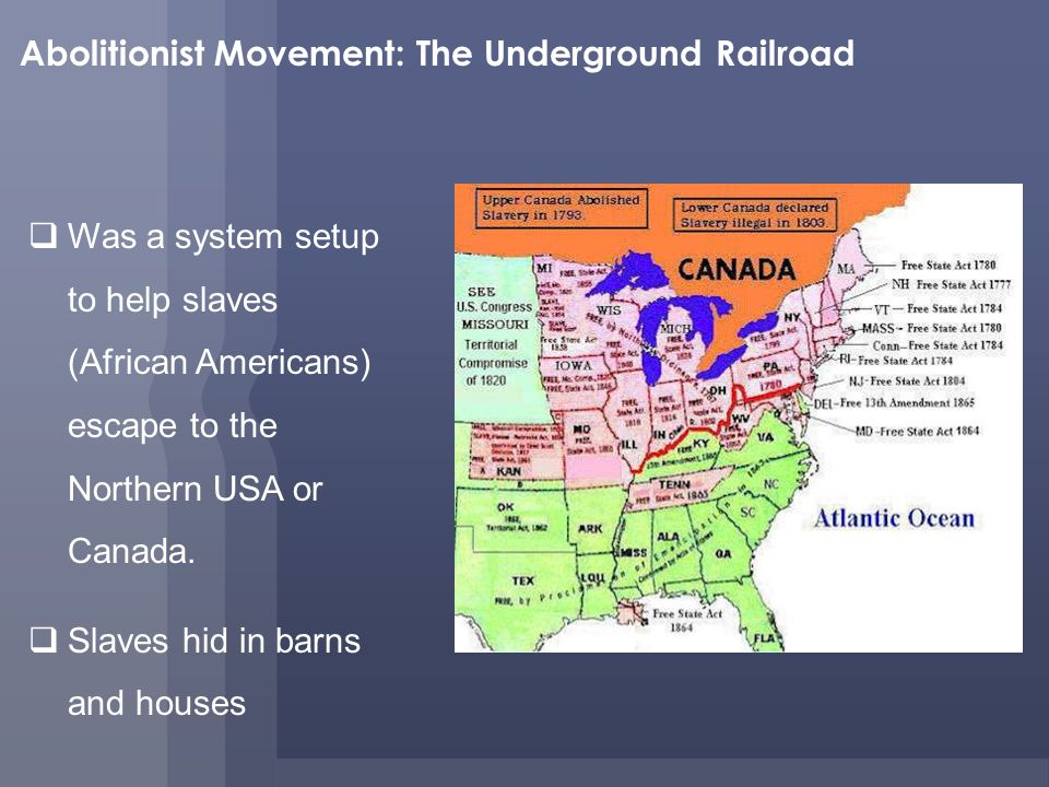 Abolitionist Movement: The Underground Railroad