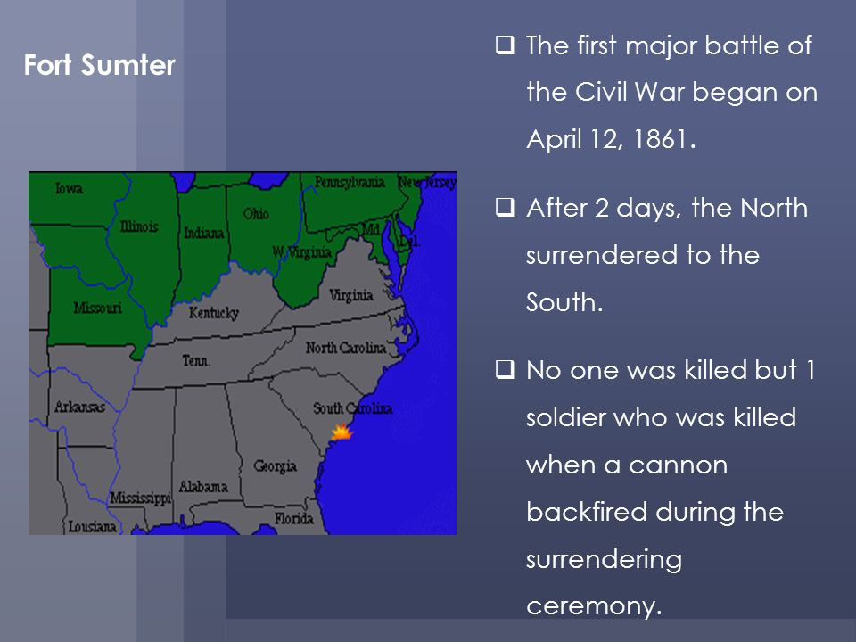 The first major battle of the Civil War began on April 12, 1861.