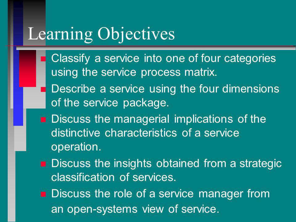 Learning Objectives Classify a service into one of four categories using the service process matrix.