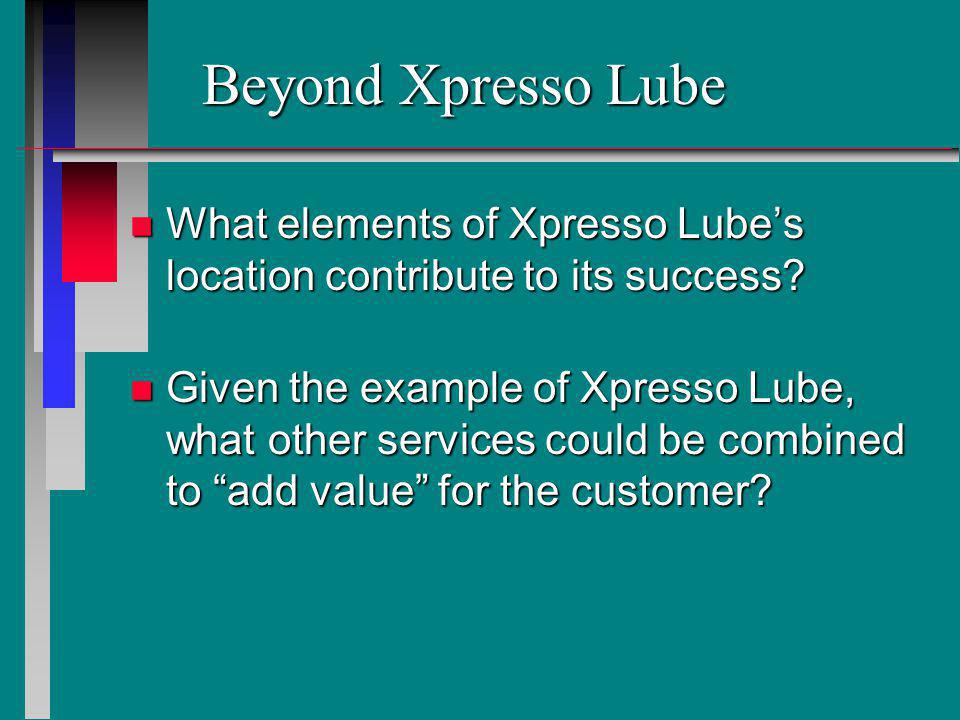 Beyond Xpresso Lube What elements of Xpresso Lube's location contribute to its success