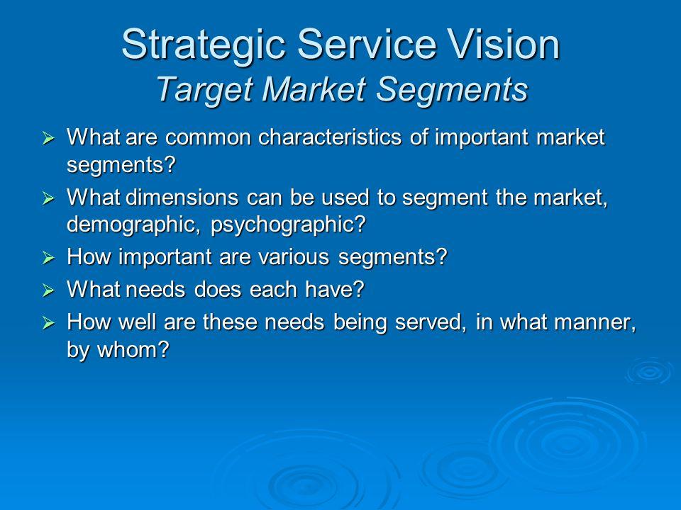 Strategic Service Vision Target Market Segments