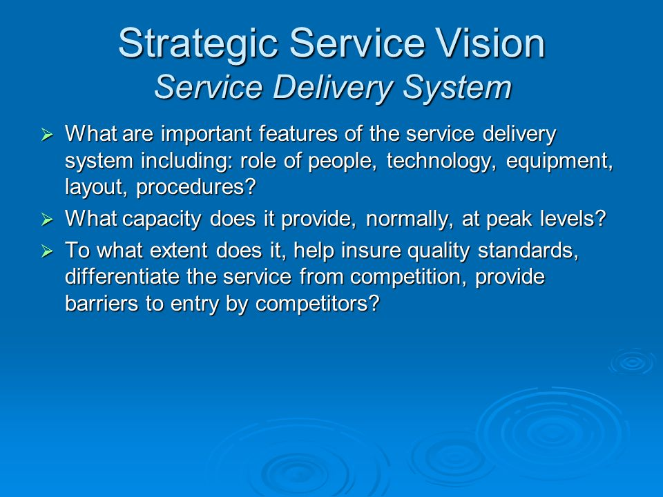 Strategic Service Vision Service Delivery System