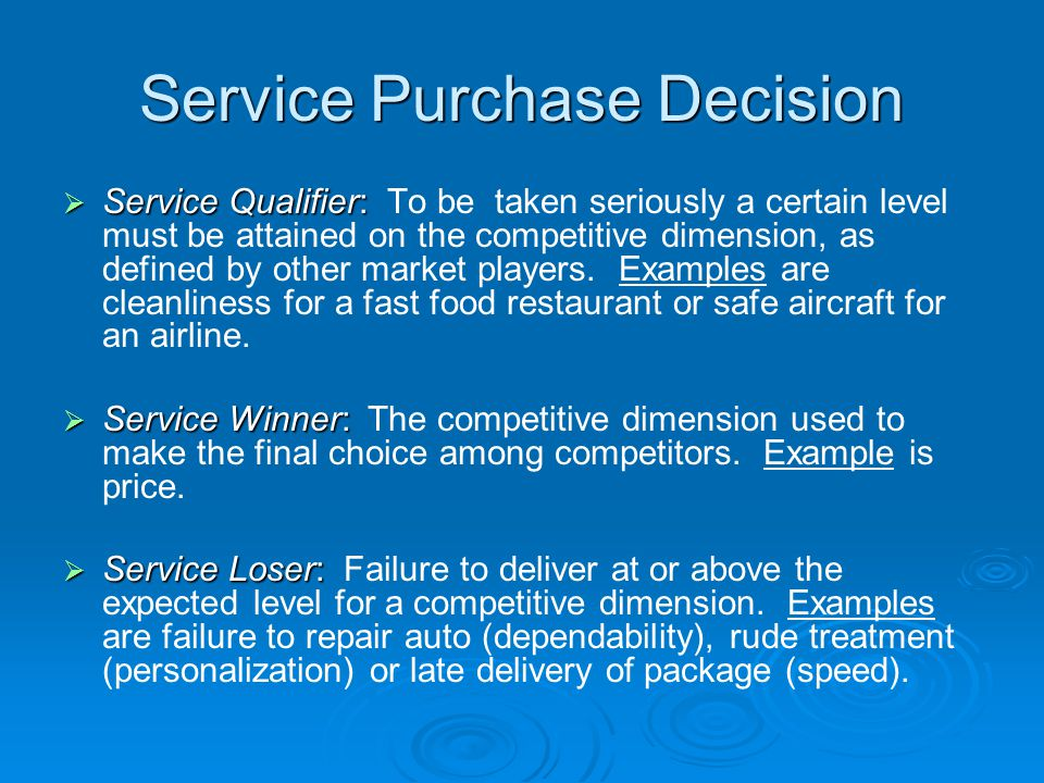 Service Purchase Decision