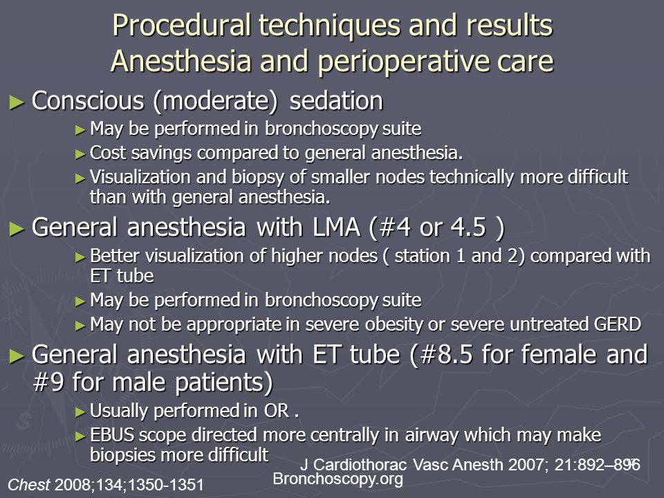 Procedural techniques and results Anesthesia and perioperative care