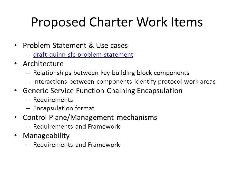 Proposed Charter Work Items