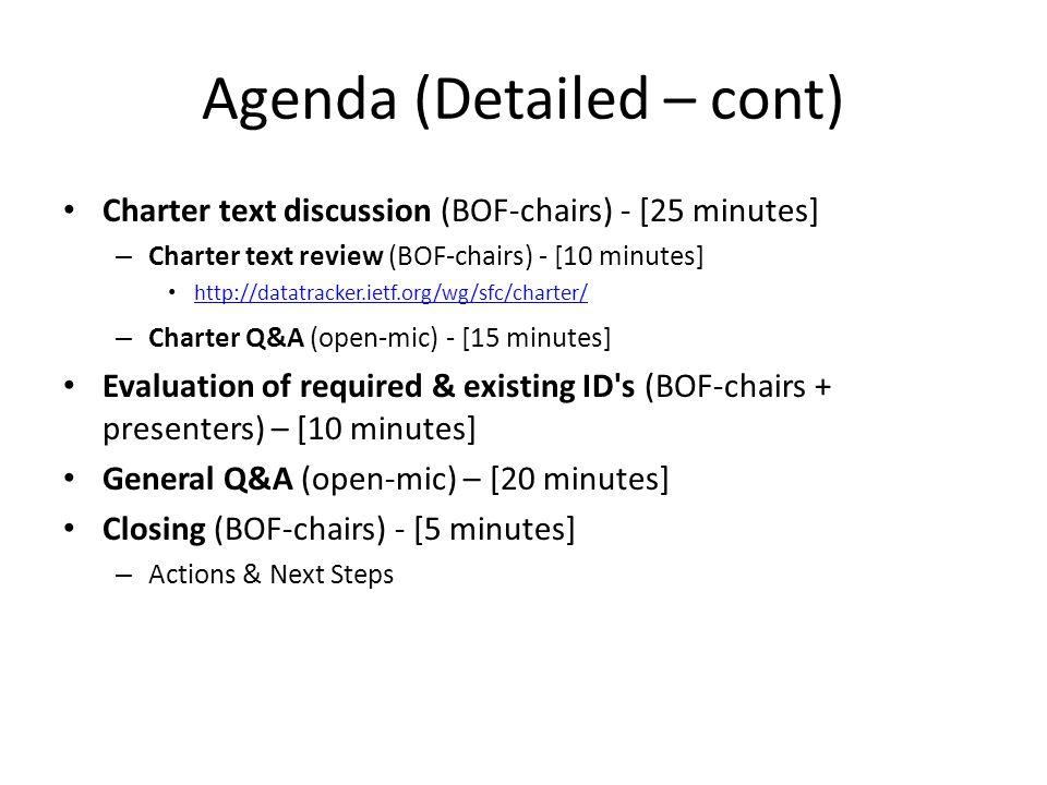 Agenda (Detailed – cont)