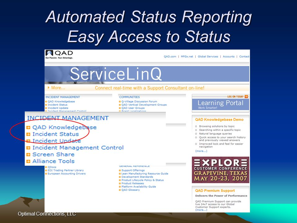 Automated Status Reporting Easy Access to Status