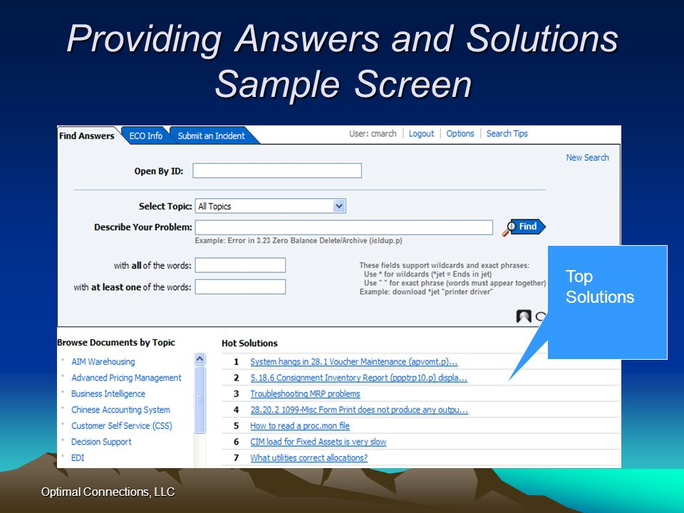Providing Answers and Solutions Sample Screen