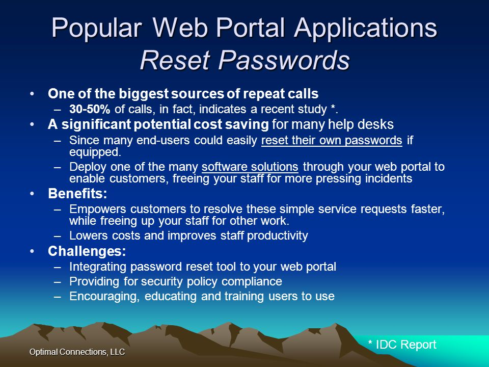 Popular Web Portal Applications Reset Passwords