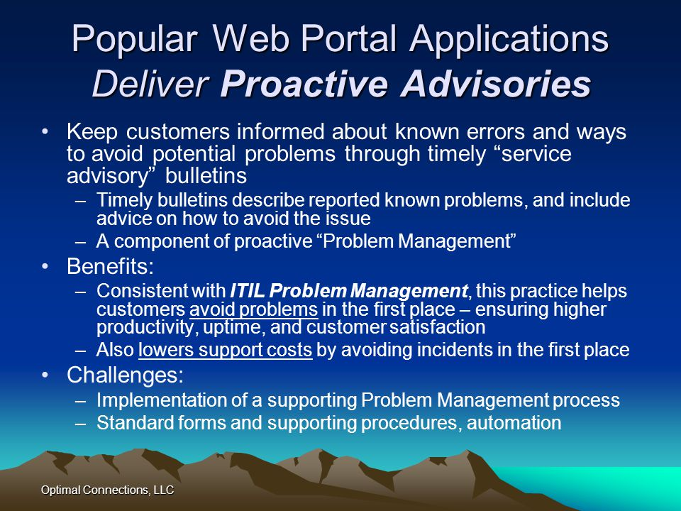 Popular Web Portal Applications Deliver Proactive Advisories