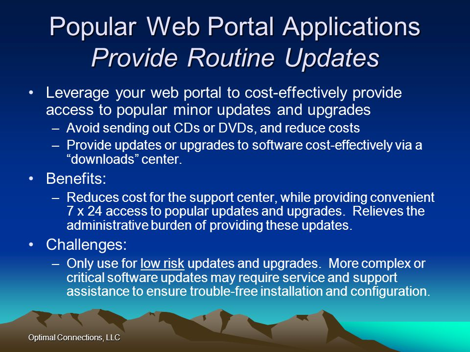 Popular Web Portal Applications Provide Routine Updates