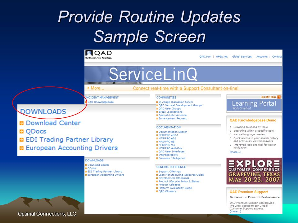 Provide Routine Updates Sample Screen