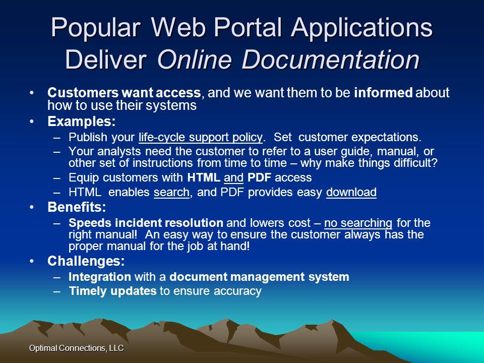 Popular Web Portal Applications Deliver Online Documentation