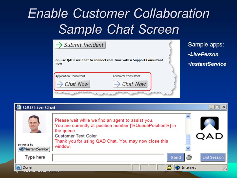 Enable Customer Collaboration Sample Chat Screen