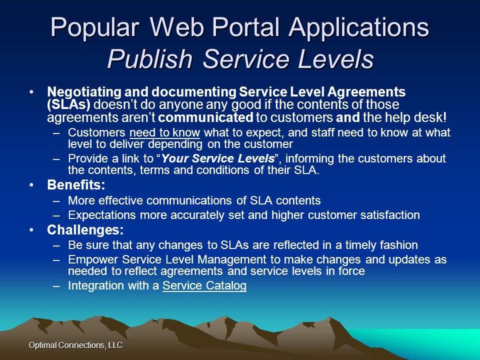 Popular Web Portal Applications Publish Service Levels