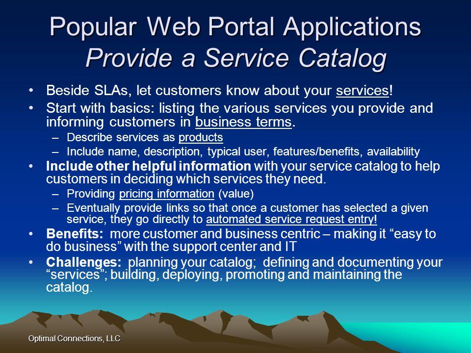 Popular Web Portal Applications Provide a Service Catalog