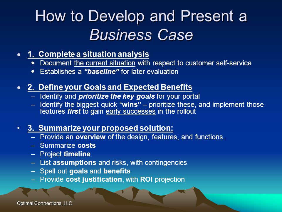 How to Develop and Present a Business Case