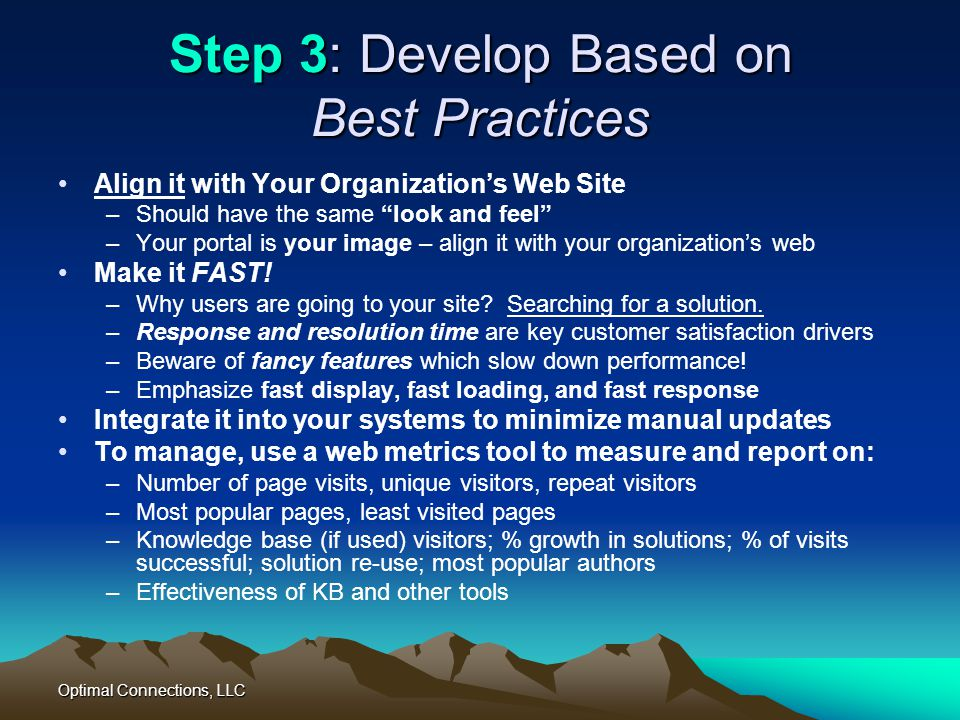 Step 3: Develop Based on Best Practices