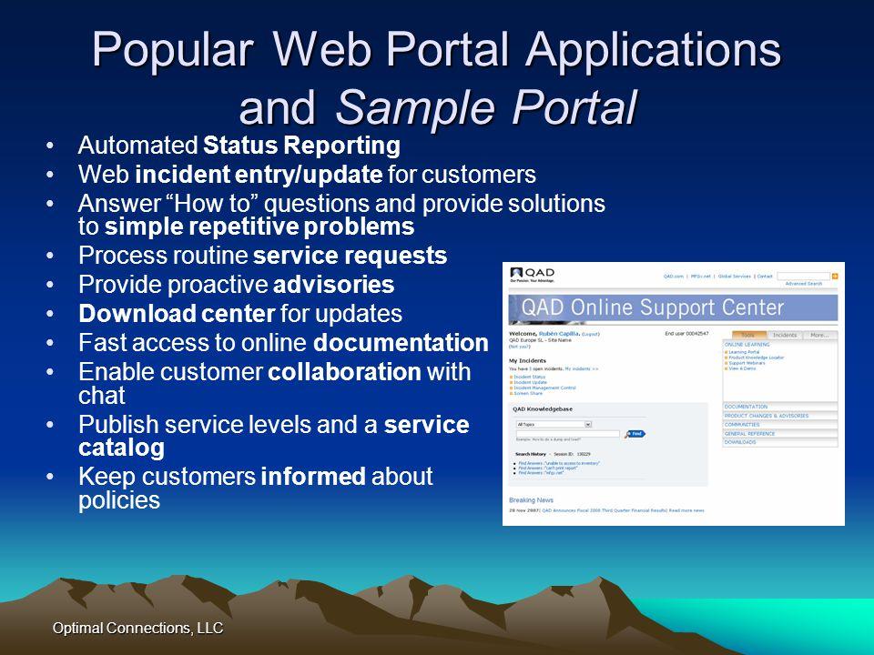 Popular Web Portal Applications and Sample Portal