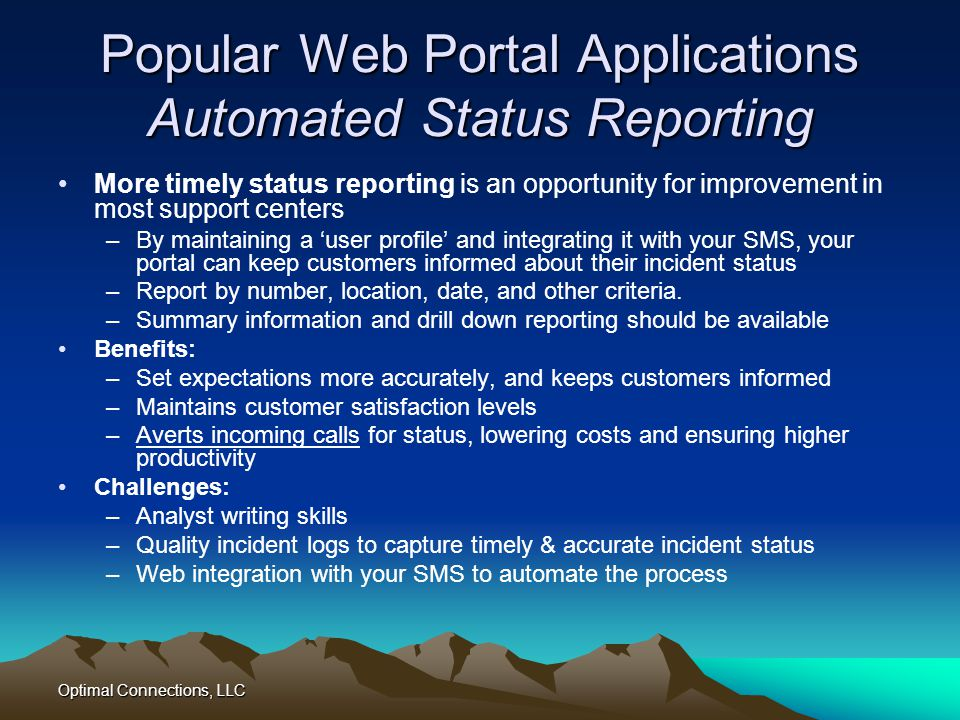 Popular Web Portal Applications Automated Status Reporting