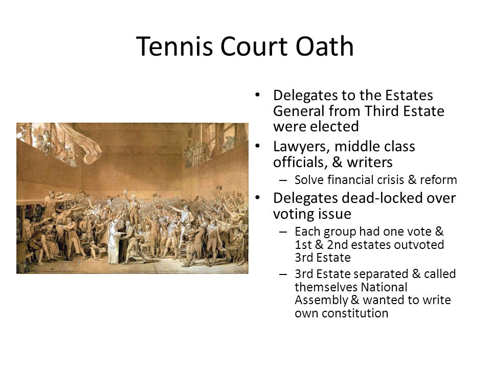 Tennis Court Oath Delegates to the Estates General from Third Estate were elected. Lawyers, middle class officials, & writers.