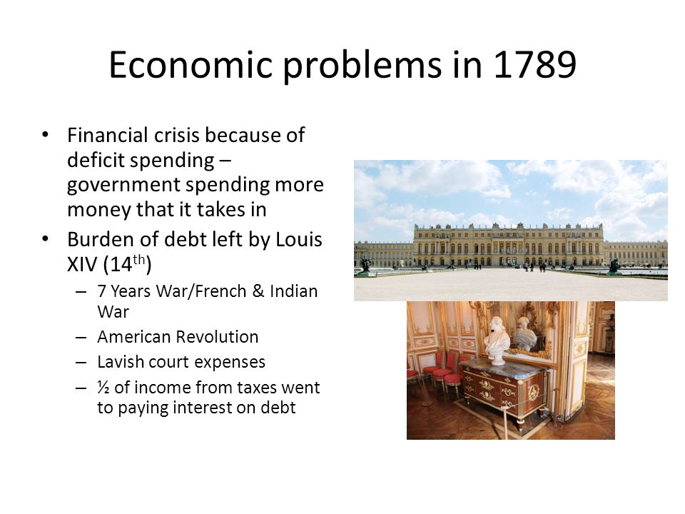 Economic problems in 1789 Financial crisis because of deficit spending – government spending more money that it takes in.
