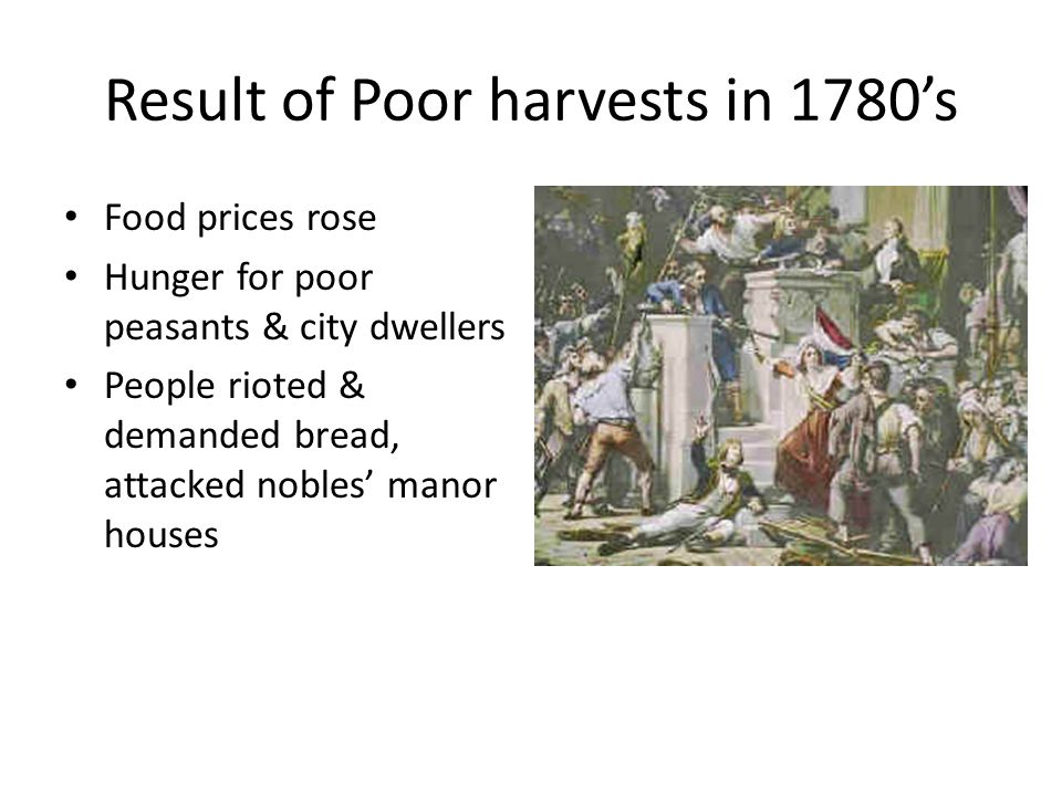 Result of Poor harvests in 1780's
