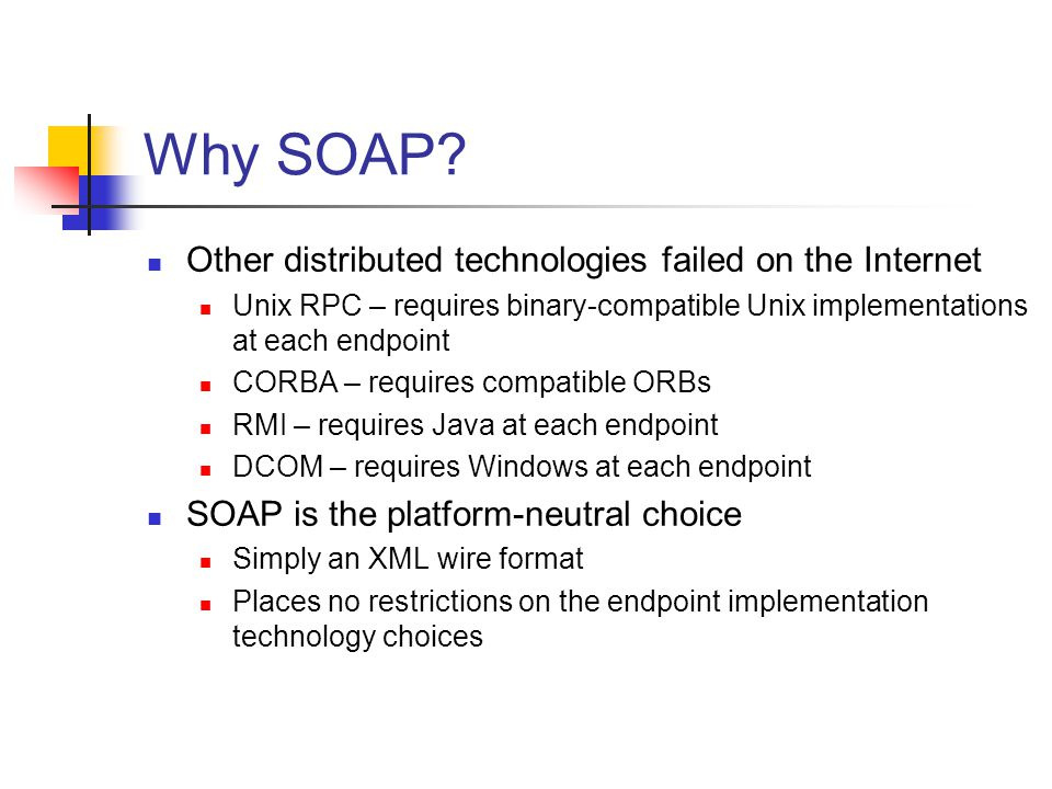Why SOAP Other distributed technologies failed on the Internet