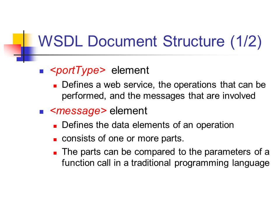 WSDL Document Structure (1/2)