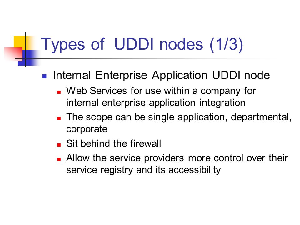 Types of UDDI nodes (1/3) Internal Enterprise Application UDDI node