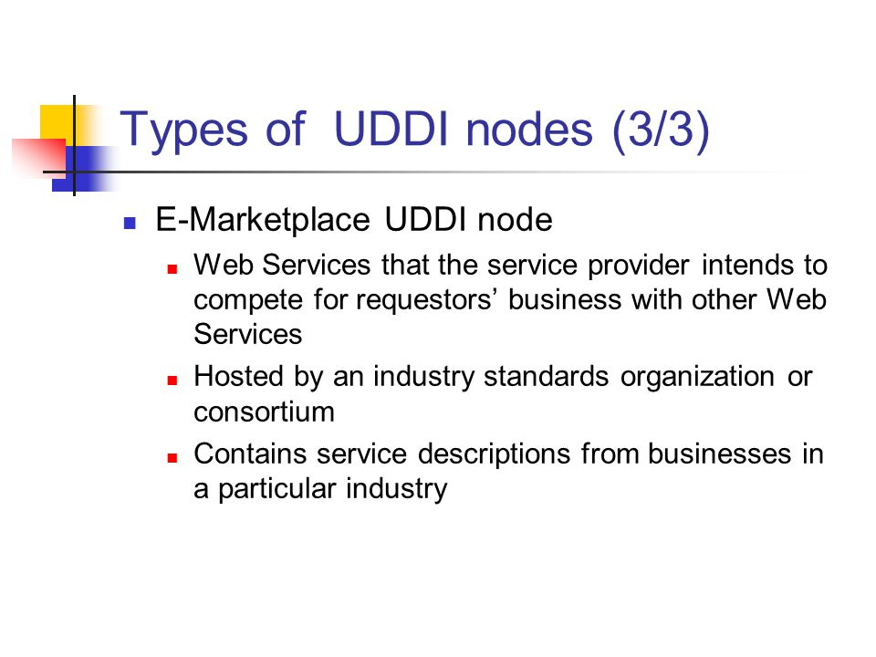 Types of UDDI nodes (3/3) E-Marketplace UDDI node