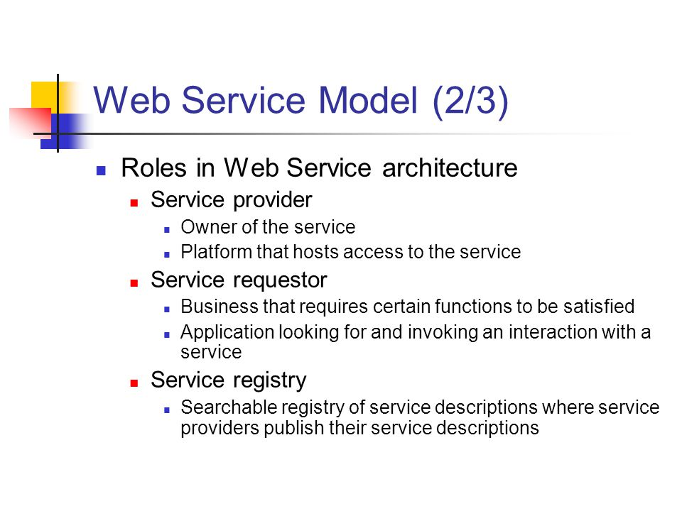 Web Service Model (2/3) Roles in Web Service architecture