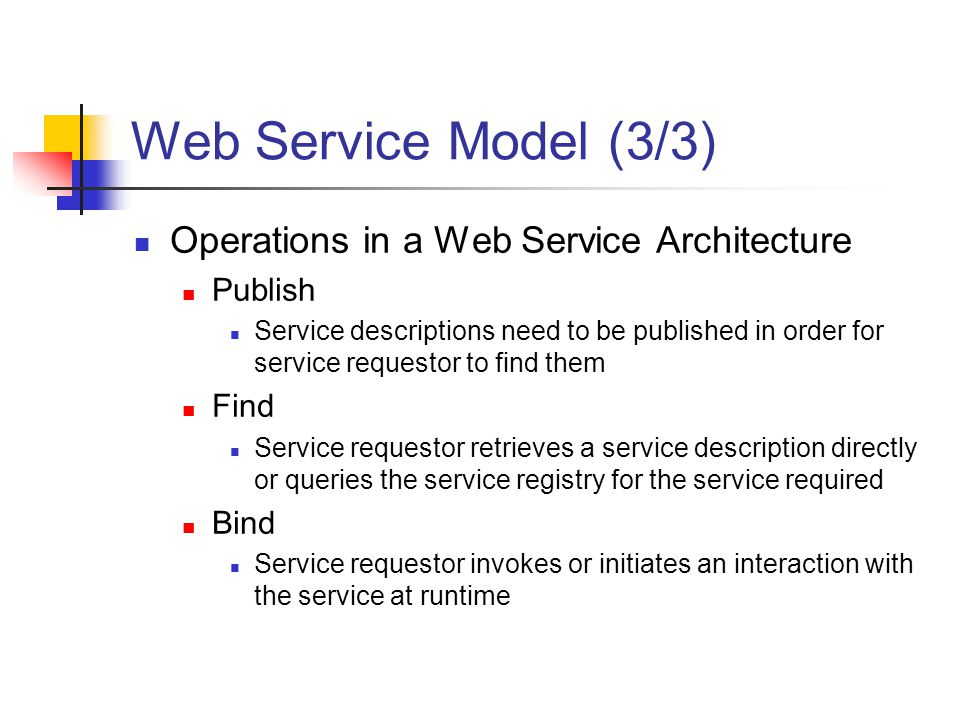 Web Service Model (3/3) Operations in a Web Service Architecture