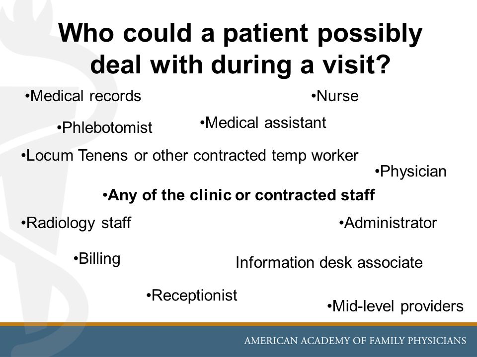 Who could a patient possibly deal with during a visit
