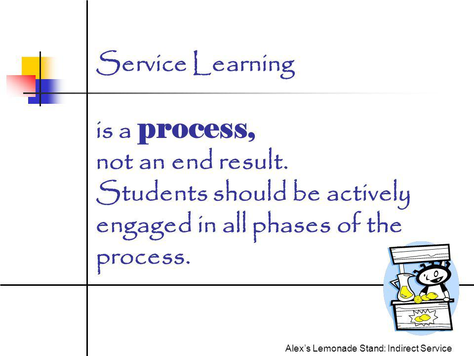 Service Learning is a process, not an end result