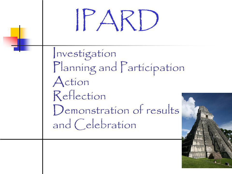 IPARD Investigation Planning and Participation Action Reflection Demonstration of results and Celebration.