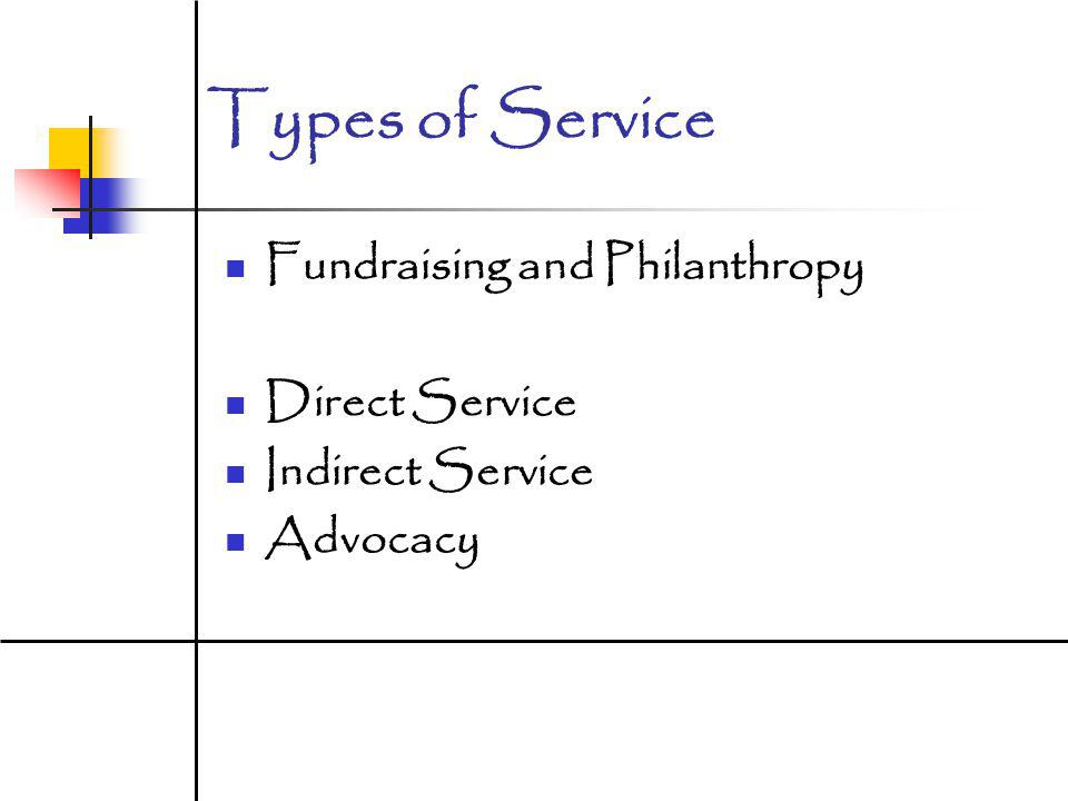 Types of Service Fundraising and Philanthropy Direct Service