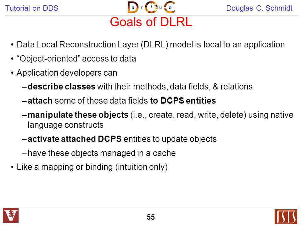 Goals of DLRL Data Local Reconstruction Layer (DLRL) model is local to an application. Object-oriented access to data.