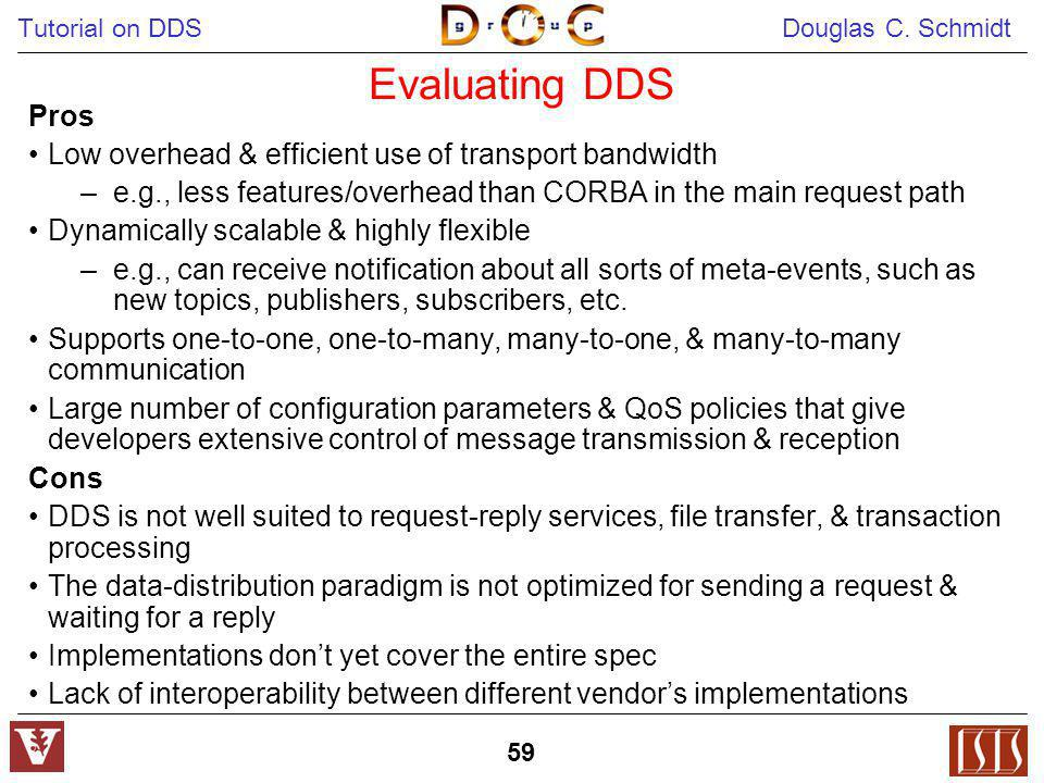 Evaluating DDS Pros. Low overhead & efficient use of transport bandwidth. e.g., less features/overhead than CORBA in the main request path.