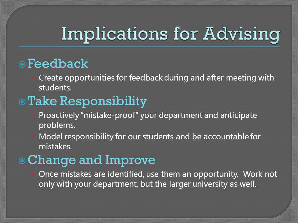 Implications for Advising
