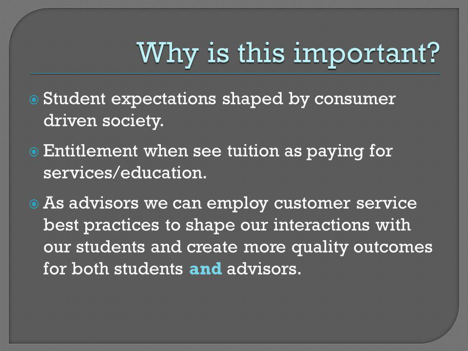 Why is this important Student expectations shaped by consumer driven society. Entitlement when see tuition as paying for services/education.