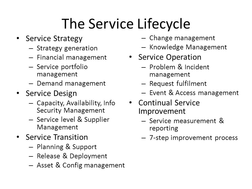 The Service Lifecycle Service Strategy Service Operation