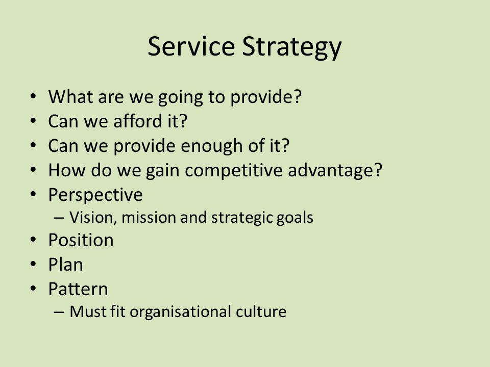 Service Strategy What are we going to provide Can we afford it