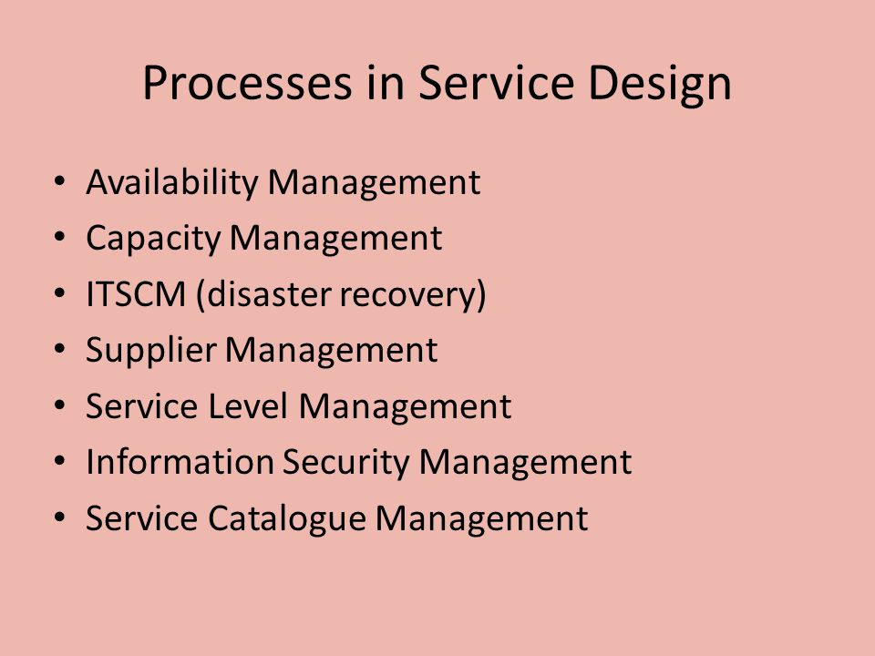 Processes in Service Design