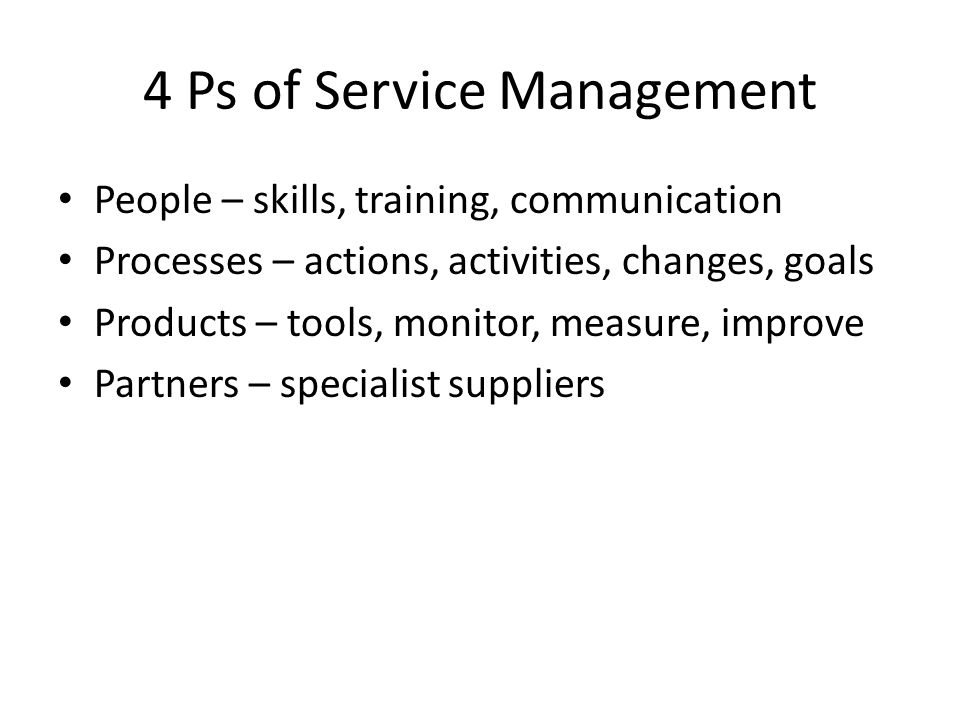 4 Ps of Service Management