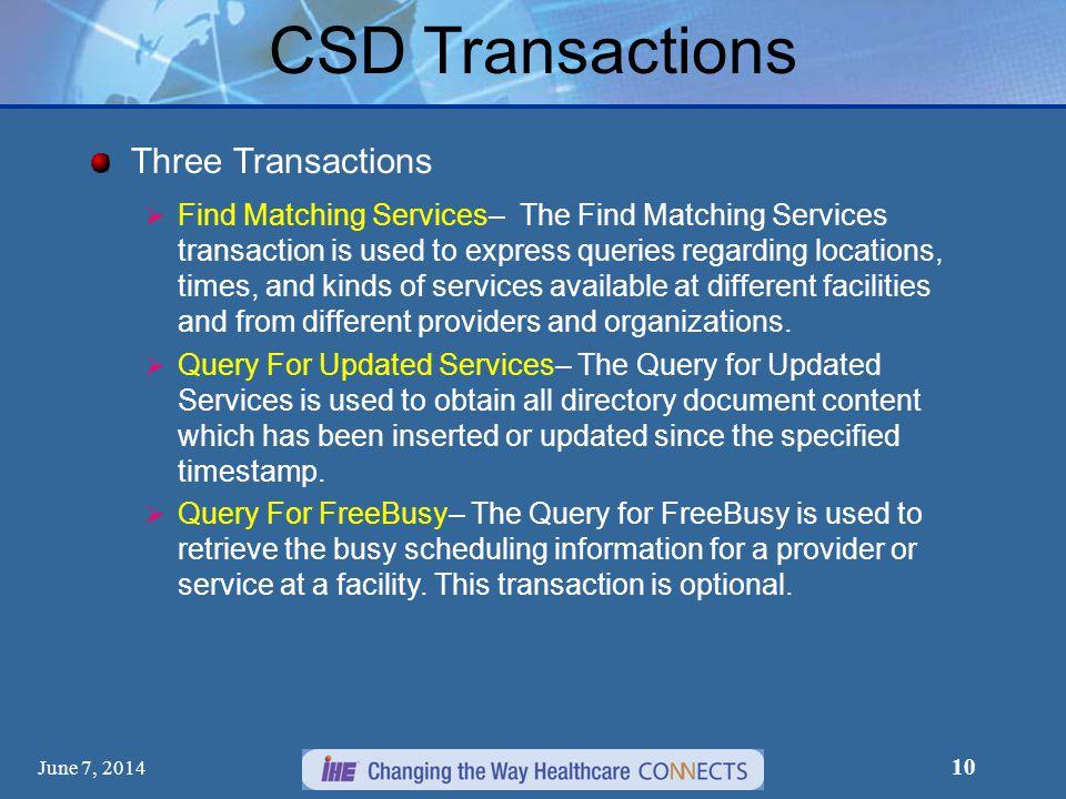 CSD Transactions Three Transactions