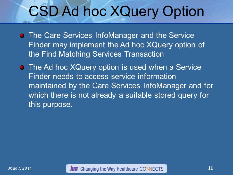 CSD Ad hoc XQuery Option